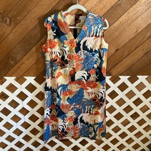 Vintage rooster print sleeveless dress size 18